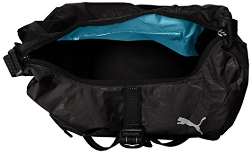 PUMA Uni Fit AT Hobo Bag Umhängetasche, Black-Reflective Silver, 44 x 38 x 1 cm