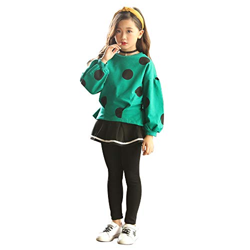Cute Little Girls 2 Pieces Clothing Set Outfit Top+Leggings Pantsskirts Green+Black 9-10 Years