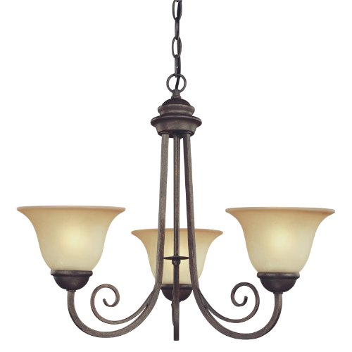 Cheap Westinghouse 6658700 Three Light Interior Chandelier Ebony Bronze Finish with Aged Alabaster Glass