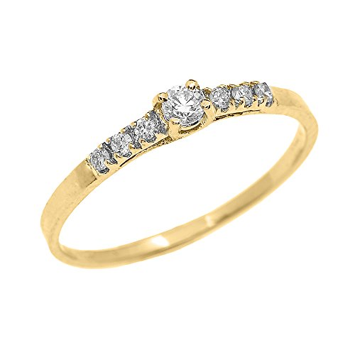 Dainty 10k Yellow Gold Diamond Solitaire Engagement Proposal Promise Ring (Size 7)