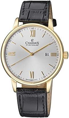 Charmex Luxury Men's 'Amalfi' Wrist Watch Stainless Steel Case and Black Leather Band — 42mm Analog Watch — Swiss Quartz Movement (Model: CX-3025)