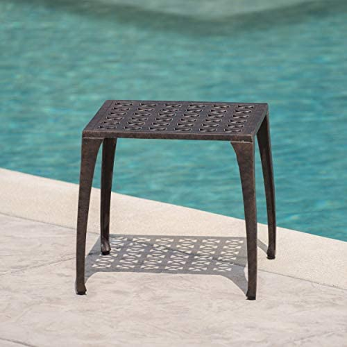 """CHRISTOPHER KNIGHT HOME KAI OUTDOOR 18"""" CAST ALUMINUM SIDE TABLE, BRONZE FINISHED"""