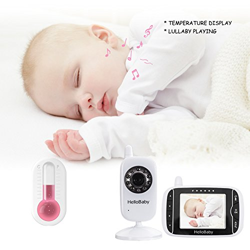 HelloBaby Digital Wireless Video Baby Monitor with Night Vision & Temperature Sensor, 2 Way Talk & 960ft Transmission Range