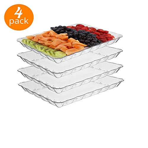 Catering Serving Trays - silver collection Rectangular Crystal clear Plastic Trays, disposable serving Party Platters 9