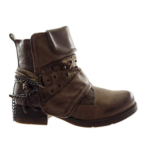 Metallic Multi 3 Boots Ankle Women's Fashion Straps Shoes Angkorly cm Material 5 Classic bi Block Booty Biker Khaki Pearl Heel qIaP7wxwt
