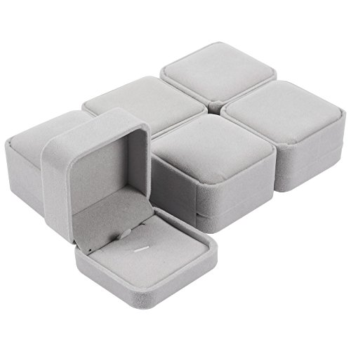 Pendant Jewelry Boxes - 6-Piece Velvet Pendant Gift Box Set, Necklace Display Cases, Jewelry Holders, Storage Boxes for Pendants with Removable Pads - Grey, 8.6 x 1.5 x 5.5 Inches ()