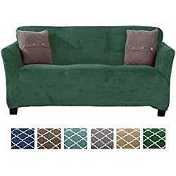 Form Fit, Slip Resistant, Stylish Furniture Shield/Protector Featuring Velvet Plush Fabric Magnolia Collection Strapless Slipcover (Sofa, Emerald Green - Solid)