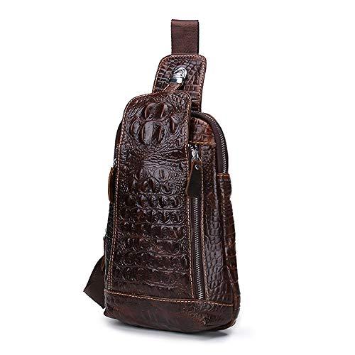 Beezen Mens Vintage Genuine Leather Alligator Daypack Crossbody BagTravel Shoulder Bag