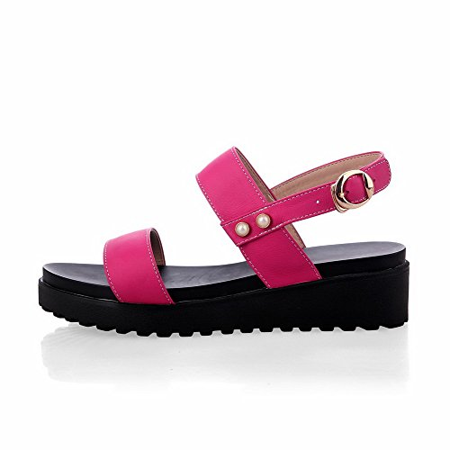 Amoonyfashion Womens Open-teen Buckle Rundleder Solide Kitten-hakken Sandalen Rosered
