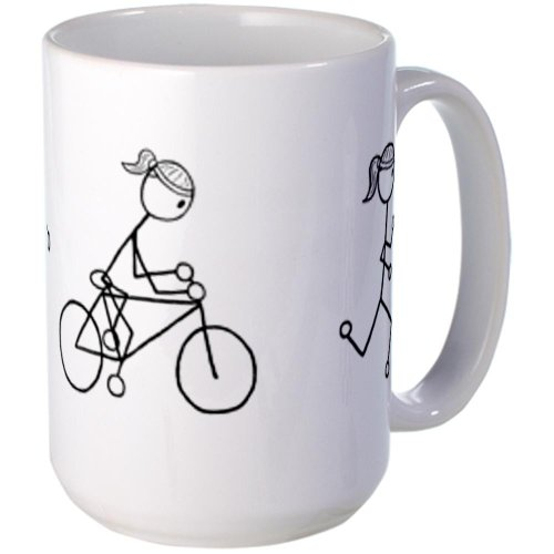 CafePress - Triathlon Girl Black No Words Large Mug - Coffee Mug,...