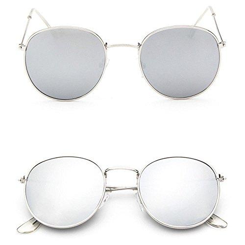 Men Women's Round Sunglasses Vintage Retro Oversized Mirror Glasses - Hong Brand Sunglasses Kong
