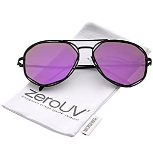 zeroUV - Geometric Hexagonal Metal Frame Colored Mirror Flat Lens Aviator Sunglasses 60mm (Black / Purple Mirror)