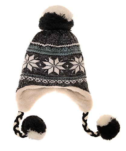 Snowflake Earflap Knit Hat - Dosoni Women Girl Winter Hats Knit Soft Warm Earflap Hood Cozy Large Snowflake Beani (Black)