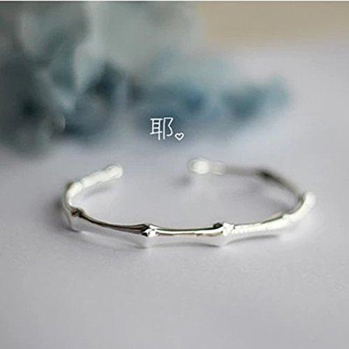 (Women Gift Steadily high Literary sen Women Girls Bamboo Bracelet Bangle Design Girlfriend Birthday Year's Gift s925 Silver Plated)