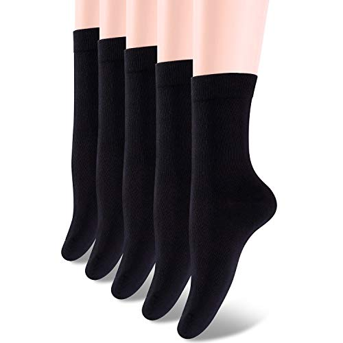 (HBY 5 Pack Classic High Ankle Cotton Socks Women Lightweight solid colored)