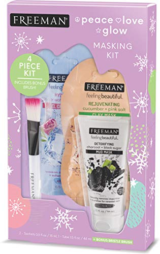 Freeman Beauty Holiday Peace Love Glow Face Mask Gift Set for Skin Care, With Set of 3 + Face Mask Applicator Brush