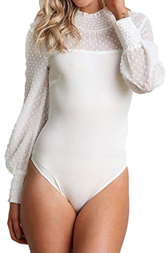 Sexy Gorgeous Polka Dot - Jennyarn Gorgeous Jumpsuits for Womens Chiffon Sleeves with Polka Dot Pattern Leotard Bodysuit XL
