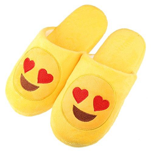 Unisex Warm Winter Slippers Emoji Cute Cartoon Soft Plush Fluffy Stuffed Indoor Household Home Bedroom Shoes Anti-Slip Memory Foam Casual Slip-On Footwear (Label Size S = US4.5-US6.5, Love Eyes)