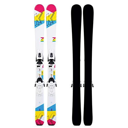 K2 Luv Bug Fdt Jr White – Juego de fijaciones de esquí para niña