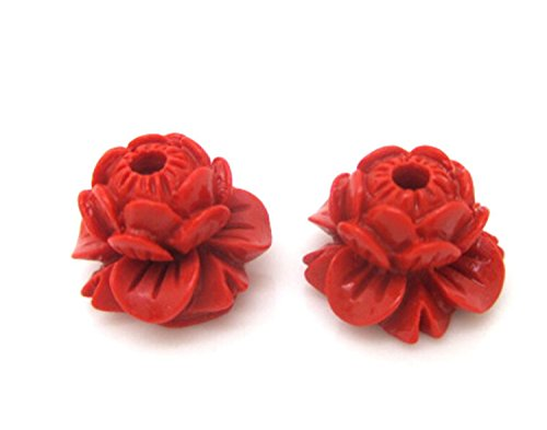 - Dofull Pure natural genuine Taiwan quality cinnabar lotus heart beads#JPN100