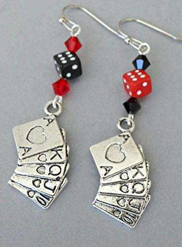 Gambling Earrings with Deck of Playing Cards, Dice and Swarovski Crystals
