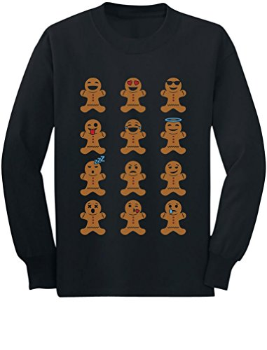 (Cute Gingerbread Emoji Funny Faces Christmas Toddler/Kids Long Sleeve T-Shirt 5/6)