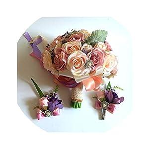 ONLY-FOR-ME-1 Set Wedding Bouquet Boutonniere and Wrist Flower Corsage Brooch Bouquet Bridesmaid Bridal Bouquet Wedding,Size L 3pcs Set 110