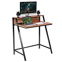 Description: Tangkula Home Office Metal Frame Computer Desk is designed to fit your homeand office which is perfect for Study, writing and work. 2 tier desk suit for some organization to yourspace without sacrificing style. It has a sturdy po...