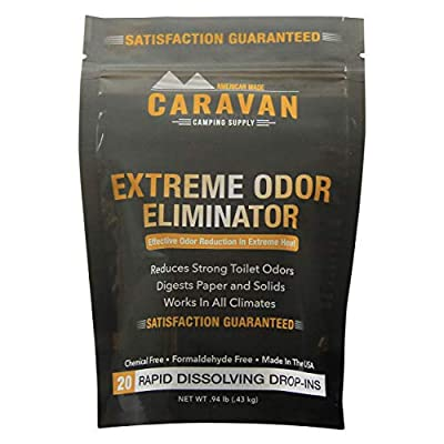 Caravan Extreme Odor Eliminator - RV Black & Gray Holding Tank Treatment - hot Weather, Drop-in Odor/Stench Bomb, 20 pods   Controls Strong Toilet Odors in All climates   Chemical and Fragrance Free