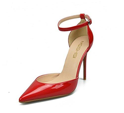 Punta Pompe Piattaforma Caviglia Zpl Tallone Formato Stiletto Pattini Aguzza Rosso Dei Partito Strappy Signore Donne Sandali 45AxUqwHH