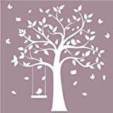 Stickers muraux amovibles en vinyle à motif arbre blanc avec mignons oiseaux-pour chambres de filles