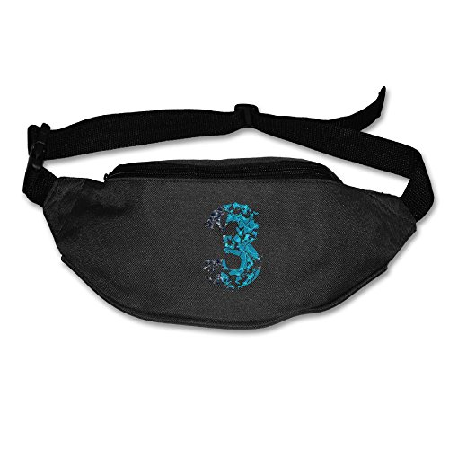 Waist Bag Fanny Pack Art Number 3 Unisex Outdoor Sports Pouch Running Belt Fitness Travel Pocket -