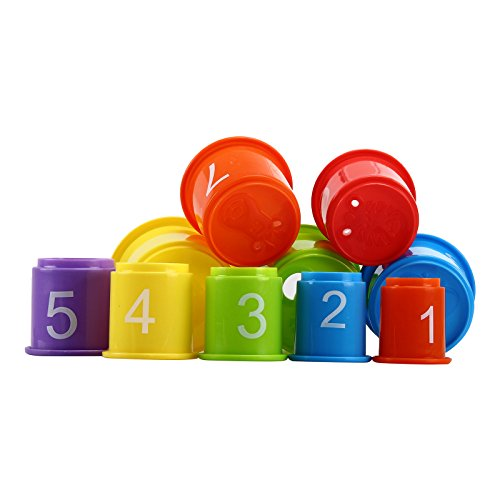 Stacking Cups Early Educational Toddlers Toy Bathtub Toys with Numbers & Animals Game for Kids Baby 11 Pack