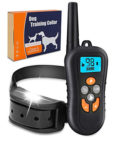 Zukaly Dog Training Collar,1800FT Remote Shock Collar for Dogs 100% Waterproof and Rechargeable Dog Training Collar, LED Light, Beep, Charger, Vibration Dog training Collar for Large and Medium Dogs - Bark Collar Remote