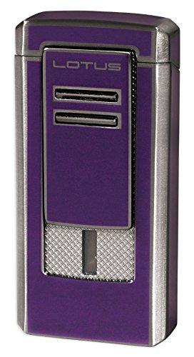 Lotus Commander Triple Flame Lighter w/ Cigar Punch - Dark Purple & Gunmetal