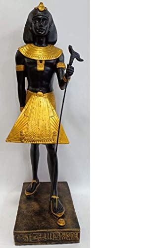 (Beautiful Black and Gold Painted, Handcrafted Glass Fiber Ancient Egyptian King TUT Sculpture from Egypt - Height 11.8 INCHES ; 30)