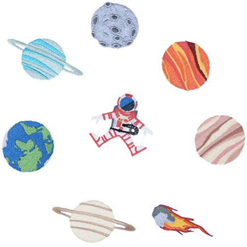 Welecom 8 Pcs Spaceman Patches Astronaut Applique Patch for Jackets Space Planets Iron On Patches for Jeans, Backpack, Caps