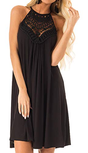 Btfbm Women Halter Neck Sleeveless Lace Patchwork Keyhole Solid Color Casual Loose Fit Knee Length Dress Black Small