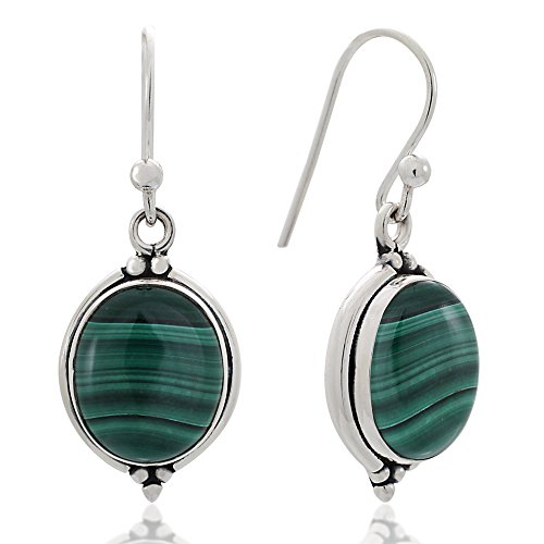 - 925 Oxidized Sterling Silver Green Malachite Gemstone Oval Vintage Dangle Hook Earrings 1.3
