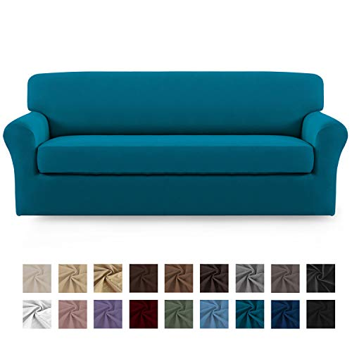 Easy-Going 2 Pieces Microfiber Stretch Sofa Slipcover - Spandex Soft Fitted Sofa Couch Cover, Washable Furniture Protector with Elastic Bottom for Kids,Pet (Oversized Sofa, Peacock Blue)