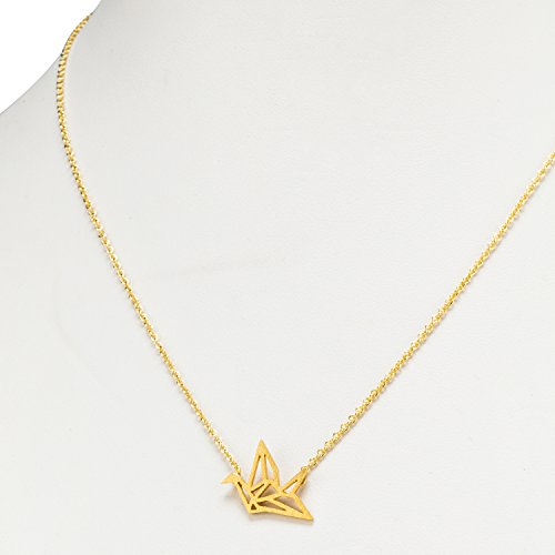 (Abbott Collection 27-MATRIX-551-GOLD Origami Crane Necklace)