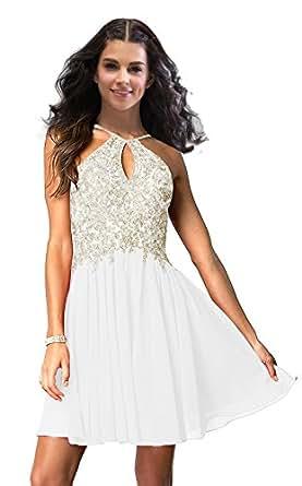 Lily Wedding Junior Halter Gold Applique Prom Dresses 2019