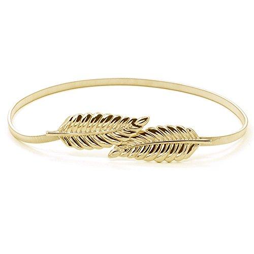 MoYoTo Women's Stylish Gold Leaf Buckle Elastic Stretch Waist Chain Belt (Gold) (Buckle Leaf)