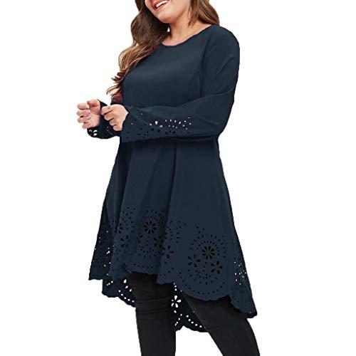 GIANTHONG Plus Size Dress Women Round Neck Lace Stitching Irregular Hem High Low Hollow Out Long Shirt Skirt Black