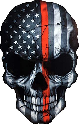OTA Sticker Skull Skeleton Devil Ghost Monster Zombie American Flag Subdued Thin RED LINE USA Military Soldier Ranger Firefighters Rock Metal Heavy Decal Laptop CAR Window Door Wall Motorcycle Helmet (Helmet Wall Decal)