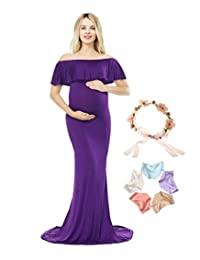 Sannyway Photoshoot Maternity Dress Ruffle Off Shoulder Photography Maxi Gown