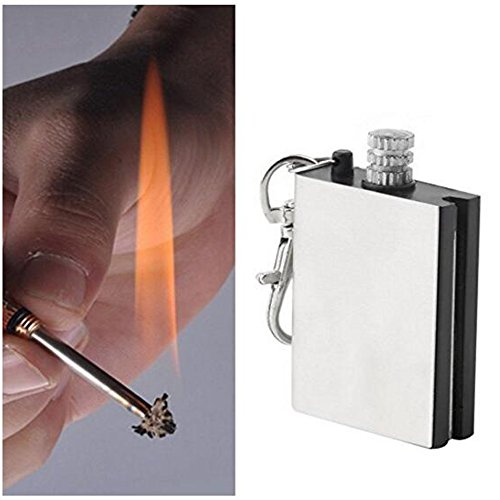Flint Fire Starter Windproof Waterproof Lighter Fluid Canister Metal Unlimited Matches Keychain Plus Knife Card, Ferrocerium Rod, Folding Knife, 7 IN 1 Whistle Pocket Multitool Survival Gear Kit