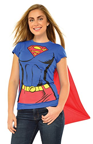 DC Comics Super-Girl T-Shirt With Cape, Blue, Large (Womens Halloween Costume Shirts)