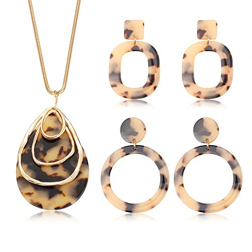 FUNRUN JEWELRY Long Pendant Necklace and Acrylic Earring Set for Women Girls Statement Earring Boho Acetate Resin Teardrop Necklace