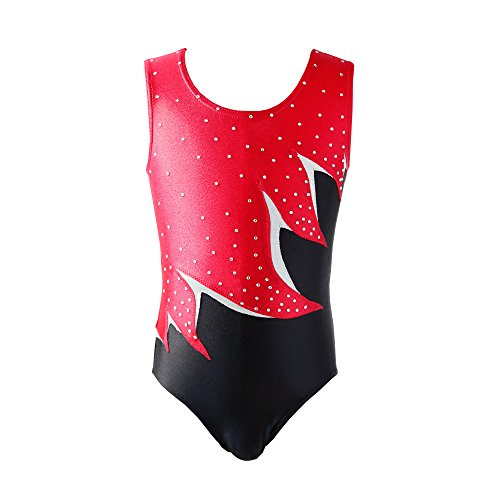 NEW DANCE Gymnastics Leotards for Girls Sparkly Rhinestone Ballet Dancewear One-Piece Activewear,RED,MA
